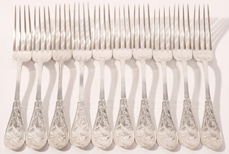 SET OF TEN TIFFANY & CO. STERLING SILVER FORKS