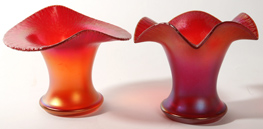 TWO RED IMPERIAL ART GLASS VASES