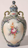 NIPPON HEAVY ENAMELED LIDDED URN