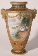 NIPPON HANDPAINTED VASE WITH SWANS