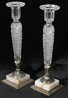 LG. PR. OF CUT GLASS PAIRPOINT CANDLESTICKS