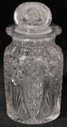 AMERICAN BRILLIANT CUT GLASS COVERED JAR