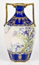 Nippon Cobalt Blue Vase with Handpainted Violets