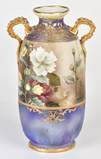 Nippon Lavender Vase with Florals & Gold Decoration