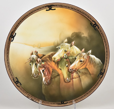 Nippon Plaque with Horses Molded in Relief