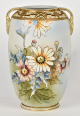 Nippon Vase with Floral Decoration and Gold Beadwork