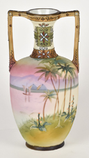 Nippon Scenic Vase with Moriage Decoration