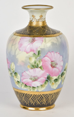 Nippon Vase with Floral & Gold Decoration