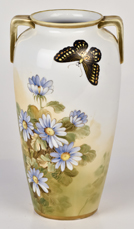Nippon Vase with Florals and Butterfly