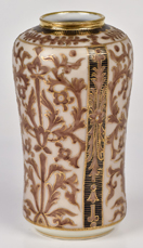 Nippon Vase with All Over Leaf Decoration with Gold