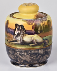 Nippon Humidor with Molded in Relief Collie Dog