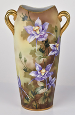Nippon Vase with Floral Decoration on Matte Finish