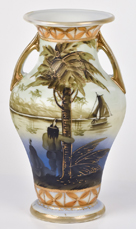 Nippon Scenic Vase with Indians and Sailing Ship