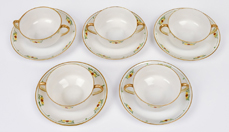Five Nippon Bouillon Cups and Saucers