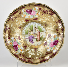Nippon Portrait Footed Bowl with Gold Decoration