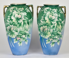 Pair of Nippon Double Handled Vases