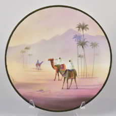 Nippon Plaque with Men on Camels Desert Scene