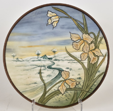 Nippon Scenic Plaque with Enamel Flowers