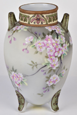 Nippon Tri-footed Vase with Floral Decoration