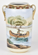 Nippon Vase with Indian in Canoe