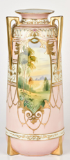 Large Nippon Scenic Vase with Gold Highlights