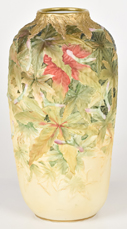 Scarce Nippon Molded in Relief Maple Leaves Vase