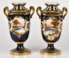 Pair of Nippon or Noritake Scenic Black  Bolted Vases