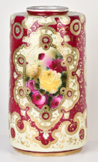 Large Nippon Cylindrical Vase with Roses and Gold