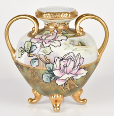 Nippon Vase with Florals and Gold Highlights