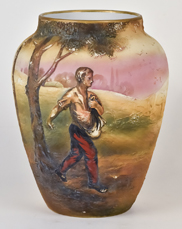 Large Nippon Johnny Appleseed Molded in Relief Vase