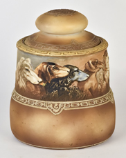 Nippon Humidor with Dogs Molded in Relief